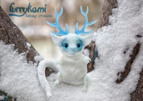 Winter dragon art toy by Furrykami-creatures