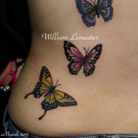 Left Hip - Butterflies - by Wi by SmilinPirateTattoo