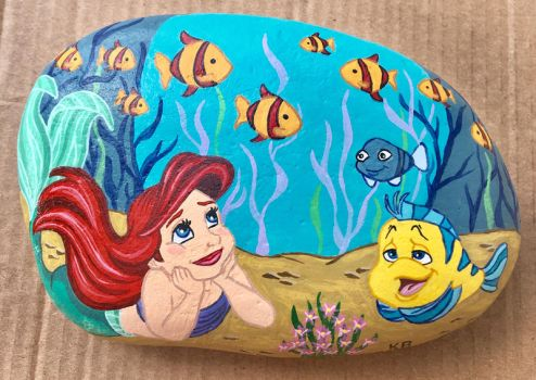 Painted Rock - Toddler Ariel by starfiregal92