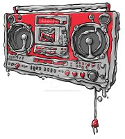 melting boombox by scribblehutsam
