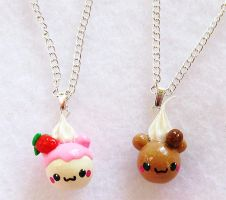 Creamy Bear Necklaces by xlilbabydragonx