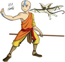 Avatar Aang and Momo by VGAfanatic