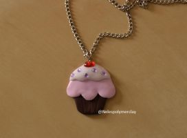 Big flat cupcake polymer clay necklace by Nelespolymerclay