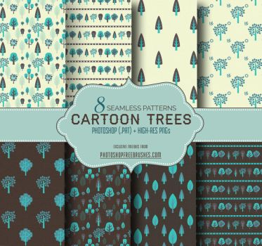 Cartoon Trees Seamless Patterns (Blue/Gray) by fiftyfivepixels