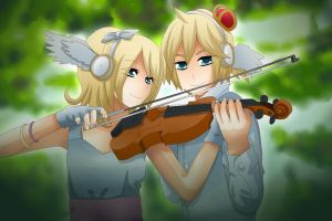 Rin and Len Kagamine - Violin by LadyGalatee