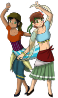 Greek and Italian Romani-themed people by AquaArtist532