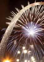 Fireworks Under the Arch by NuxPix