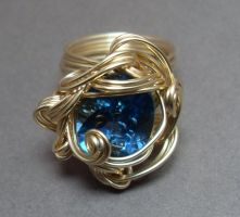 Custom Gold and Topaz Wrapped Ring by sojourncuriosities