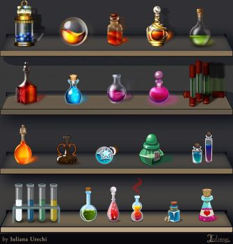 Potions in different graphic styles. by EternalAnomaly