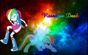 Rainbow Dash inside Galaxy Wallpaper by nhanminhle750