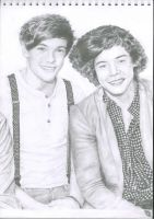Louis Tomlinson and Harry Styles portrait (scan) by Joscaah