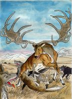 Megaloceros fighting wolves by DianaKennedy