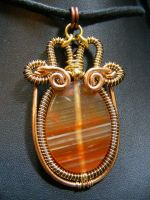 Red agate urn Pendant in copper and brass by BacktoEarthCreations