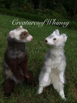 Ferret sisters! SOLD! :) by creaturesofwhimsy
