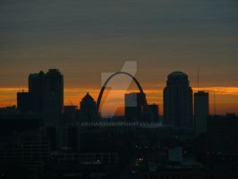St. Louis skyline during sunrise by Archarugen