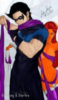 Nightwing and Starfire colour by Laikenvixenink
