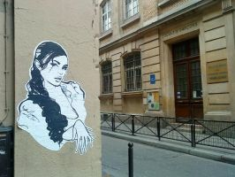 Pretty Girl wheatpaste by Finish-this-phrase