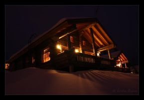 Log cabins by Behindmyblueeyes
