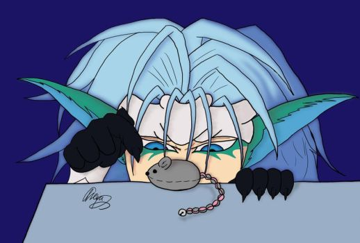 Grimmjow: squeeky Mousie by AriaWho