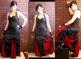 Gothic Rouge carreaux Long skirt by Wilya12
