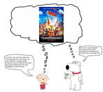 Brian and Stewie thinking about The Lego Movie by darthraner83