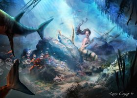 Little mermaid surprised by sharks by laura-csajagi