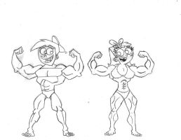 Muscular Timmy and Chloe by mysteyboy