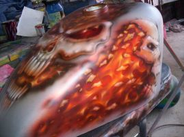 Motorcycle tank skulls fire by Jeris82