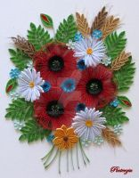 Quilled poppies, the image size 30 x 40 cm by pinterzsu