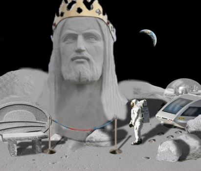 Jesus on the moon by JJGhostRider