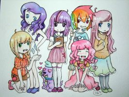 Mane 6 as humans by SilkenCat