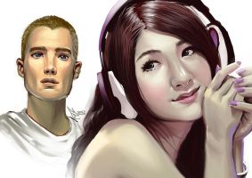 Headphones Girl and Buzzcut Guy by EmperorAtma
