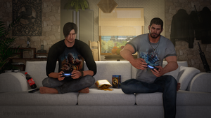 Leon vs Chris in the videogame by Taitiii