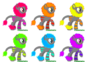 Neon Liger Pony Adopts (closed) by EnvyXtheXPalmXTree