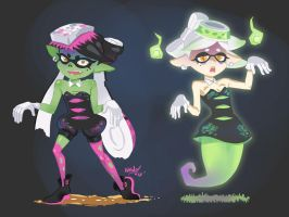 Zombie and Ghost Squids by Comadreja