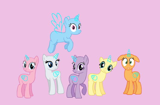 MLP Base - Mane Six by Butterfly-Bases