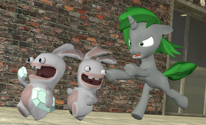 'Come back here, you damned Rabbid!' by Neros1990