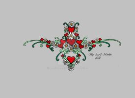 Heart Daisy tattoo design 2 by AmedaN