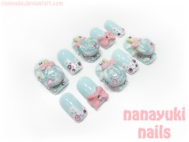 winter sweet nails blue ver by Nanayuki