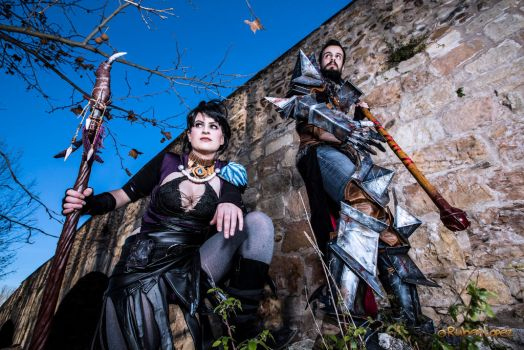 Morrigan and Hawke by Manlima