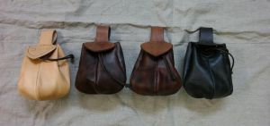 Wide mouthed drawstring belt pouches by Durnstaros