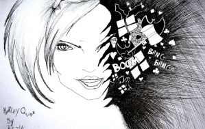 Harley quinn doodle - black and white by RoxiaMagicGirl