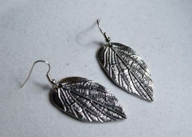 Silver Leaf Earrings by MonsterBrandCrafts