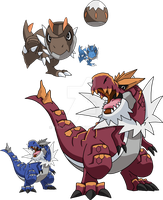 696 and 697 - Tyrunt Evolutionary Family by Tails19950