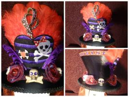 Skulls and Roses Mini Hat Fascinator by AbsolutelyFascinated