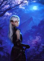Elven Girl by Moonlight by ConceptArtOrg