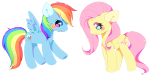 RainBow Dash and Fluttershy by Cutie-Pie-Neko
