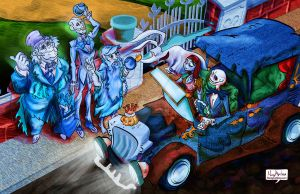 Picking up the Hitchhiking Ghosts by mannycartoon