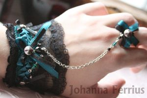 Black and Emerald Gothic Cuff with metal Owl by Johanna-Ferrius