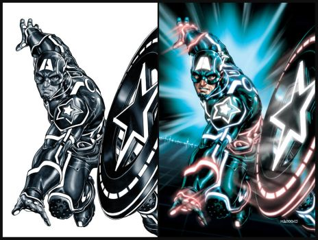 Captain America TRON-ified by diablo2003